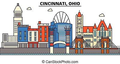 cincinnati, ohio., perfil de ciudad, arquitectura, edificios, calles, silueta, paisaje, panorama, landmarks., editable, strokes., plano, diseño, línea, vector, ilustración, concept., aislado, iconos