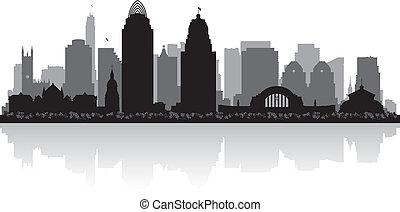 cincinnati, ohio, skyline città, silhouette