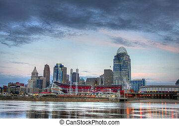 Cincinnati Ohio Skyline, morning,