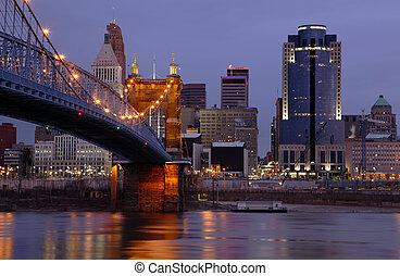 The John A. Roebling Suspension Bridge and Cincinnati, Ohio skyline.