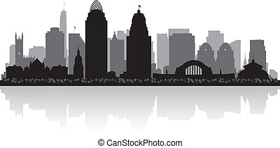 cincinnati, ohio, stadt skyline, silhouette
