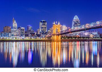 Cincinnati, Ohio, USA downtown skyline on the Ohio River.
