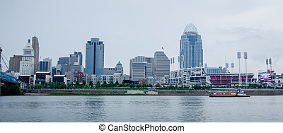 Cincinnati skyline and historic John A. Roebling suspension brid