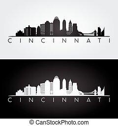 Cincinnati skyline and landmarks silhouette
