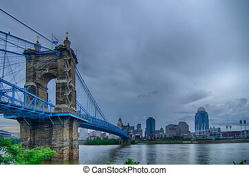 Cincinnati skyline. Image of Cincinnati skyline and historic Joh