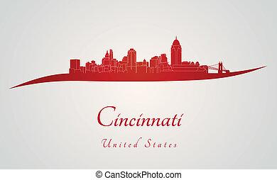 Cincinnati skyline in red