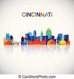 Cincinnati skyline silhouette in colorful geometric style.