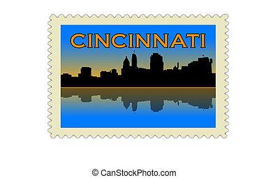 Cincinnati skyline postage stamp