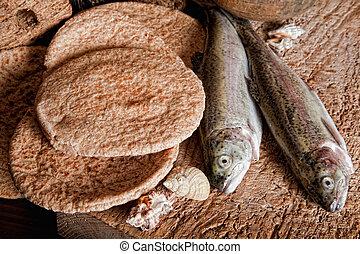 cinco, barrasde pan, y, dos, pez