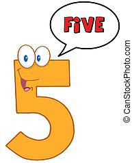 cinco, borbulho fala