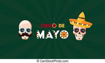 cinco, célébration, crânes, de, mexicain, mayonnaise