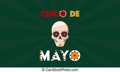 cinco, célébration, de, mexicain, crâne, mayonnaise