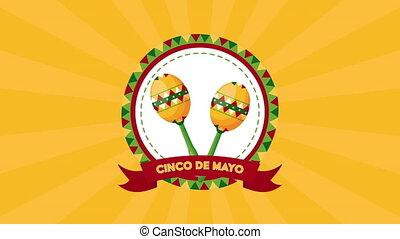 cinco, célébration, de, mexicain, maracas, mayonnaise