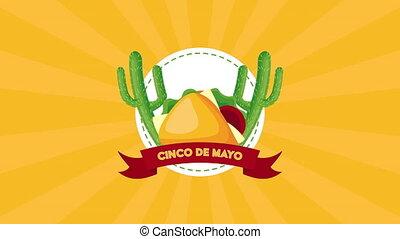 cinco, cactus, célébration, tacos, de, mexicain, mayonnaise