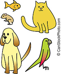 cinco, caricatura, mascotas
