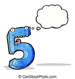 cinco, caricatura, número