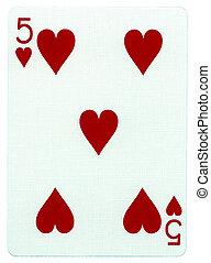 cinco, -, cartão jogando, corações