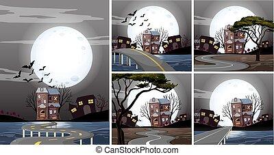 cinco, casas, assombrado, cenas, noturna