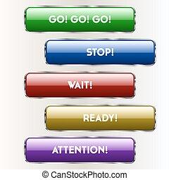 cinco, colorido, botões, para, locais