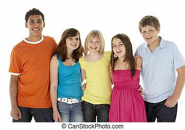cinco, crianças, grupo, jovem, estúdio