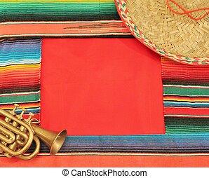 cinco, de, espacio de copia, alfombra, plano de fondo, poncho, raya, trompeta, mariachi, marco, mayo, brillante, fiesta, méxico