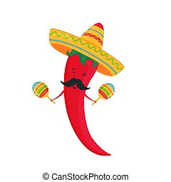 Cinco de Mayo. 5th of May. Funny cartoon chili in a sombrero playing on maracas.