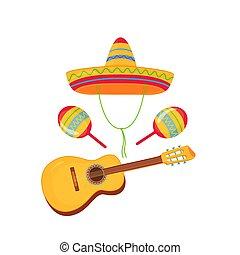 Cinco de Mayo. 5th of May. Sombrero, Maracas and Guitar....