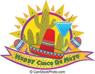 Happy Cinco De Mayo banner with sombrero, maracas and margarita. Eps10