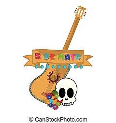 Cinco de mayo banner with a guitar