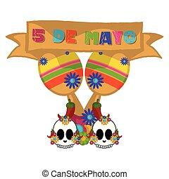 Cinco de mayo banner with a maracas