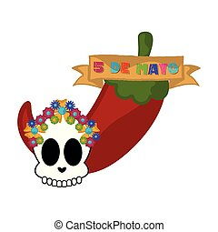 Cinco de mayo banner with a pepper