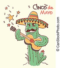Cinco de mayo Cactus playing the guitar. Vector color ...