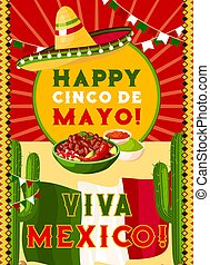 Cinco de Mayo card with mexican flag, fiesta food
