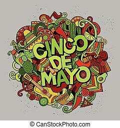 Cinco de Mayo. Cartoon vector hand drawn Doodle illustration...