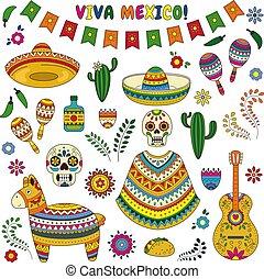 Cinco de Mayo celebration in Mexico. Cartoon doodle collection objects for Cinco de Mayo parade with pinata, maracas, sambrero, tequila, tacos, cactus, skull, flag