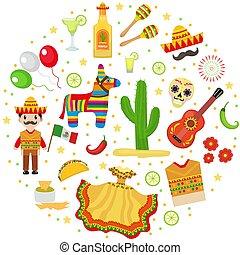 Cinco de Mayo celebration in Mexico, icons set in round...