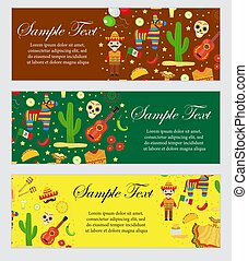 Cinco de Mayo celebration in Mexico, banner set. Horizontal board, template for your design. Vector illustration, clip art.