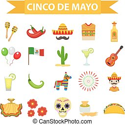 Cinco de Mayo celebration in Mexico, icons set design element, flat style. Collection objects for Cinco de Mayo parade with pinata, food, sambrero, tequila, cactus, flag. Vector illustration, clip art