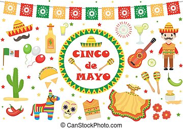 Cinco de Mayo celebration in Mexico, icons set, design element, flat style. Collection objects for Cinco de Mayo parade with pinata, food, sambrero, tequila cactus, flag. Vector illustration, clip art