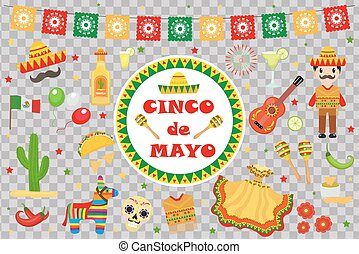 Cinco de Mayo celebration in Mexico, icons set, design element, flat style.Collection objects for Cinco de Mayo parade with pinata, food, sambrero, tequila, cactus. Vector illustration, clipart