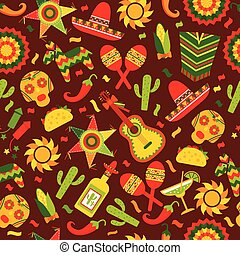 Cinco de Mayo celebration in Mexico, seamless pattern ond brown with, food, sambrero, tequila, cactus. Vector illustration.