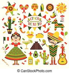Cinco de Mayo celebration in Mexico, set, design icons. Collection objects for Cinco de Mayo parade with pinata, food, sambrero, tequila, cactus, flag. Vector illustration.