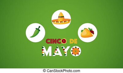 cinco de mayo celebration mexican with taco and hat ,4k video animated