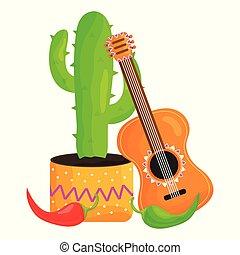 cinco de mayo celebration set icons vector illustration ...