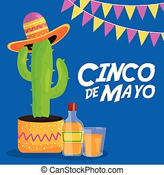 cinco de mayo celebration with cactus and hat mexican vector...