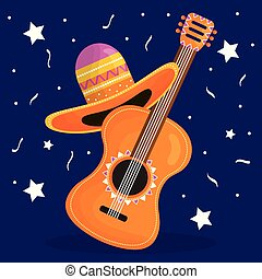 cinco de mayo celebration with guitar and hat mexican vector...