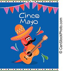 cinco de mayo chilli character playing guitar vector ...
