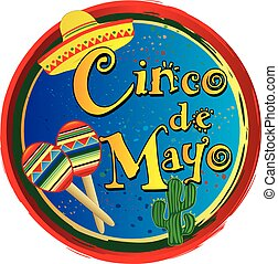 Cinco de Mayo Colorful Circle Logo