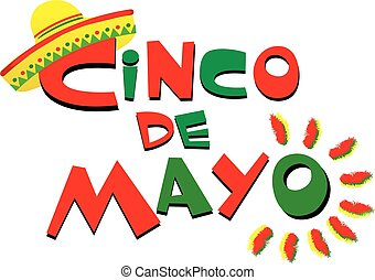 Cinco de Mayo Colorful Logo with Sombrero