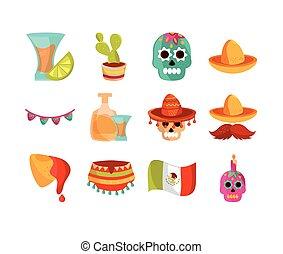 cinco de mayo decoration event mexican icons set